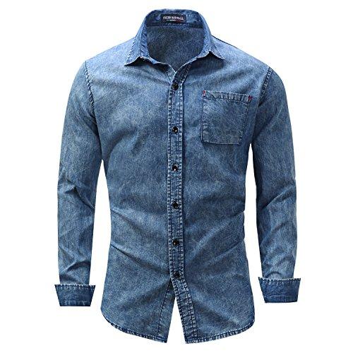 Preisvergleich Produktbild Yiye Herren Button-down Freizeit-Hemd, Kariert Gr. Large, Blue -4