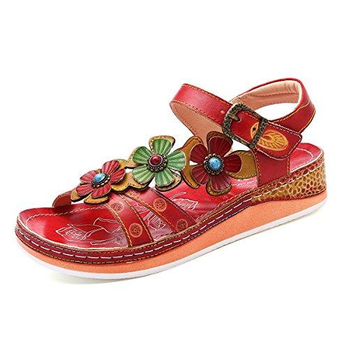 gracosy Sandalen Damen, Pantoletten Leder Sandalen Leicht Slippers Hausschuhe Sommer Blumen Flache Zehentrenner Handmade Flache Vintage Slipper