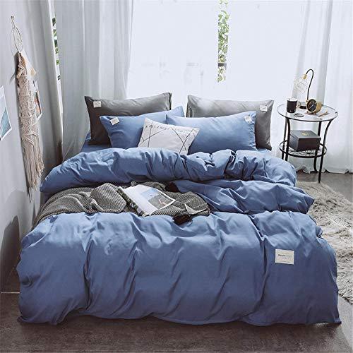 Bettwäscheset hautsympathisches, eng anliegendes, mehrfarbiges Bett aus Baumwolle, vierteilig@Royal_blue_200x230cm/7,21x7,54ft