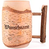 Privatglas Bierkrug aus Holz graviert mit Wunschnamen, Länge: 150 mm, Birkenholz