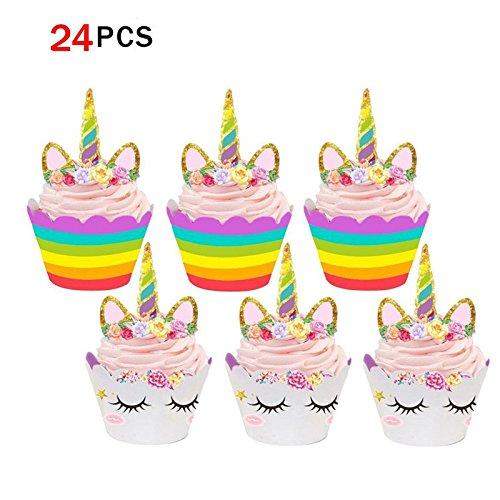 Runfon Unicorn Cupcake Toppers et Wrappers Double Face Enfants - Lot de 24 Corne de Licorne Forme Anniversaire Fournisseur gâteau décorations