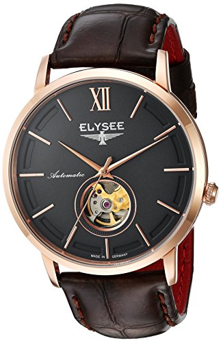 Elysee Picus Mens Watch Rose Gold/Black with Brown Leather Strap