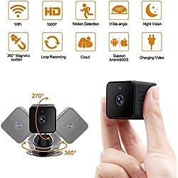 Petite Caméra Cachée WiFi LXMIMI Mini Caméra Espion 1080P HD Caméra sans Fil Portable Caméra de Surveillance avec Détecteur de Mouvement et Vision Nocturne pour Apartment/ Bébé/ Animaux de Compagnie