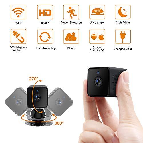 WiFi Mini Kamera LXMIMI Kleine Kamera Wireless 1080P Mini WLAN Überwachungskameras mit Bewegungserkennung und Infrarot Nachtsicht IP Sicherheit Kamera für Haustier/Baby/Zuhause/Auto/Drohne