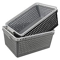 Annkky Large Baskets, Stackable Storage Basket, Rectangular Plastic Storage Basket, Set of 4