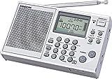 Sangean ATS-405, radiolina (FM/MW/KW, ATS, memoria stazione radio, orologio, funzione sveglia, jack per cuffie), colore argento, con custodia