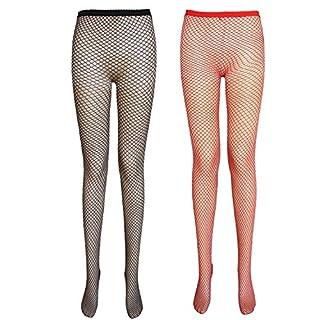 Damen Netzstrumpfhose (kleine Netze, 2 Paar Schwarz+Rot)