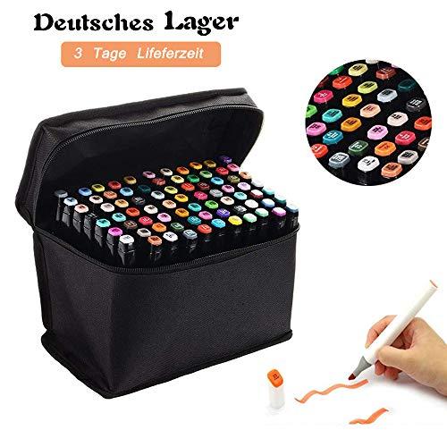 80 Farbige Graffiti Pens Oily Marker Set Twin Tip Textmarker für Studenten Manga Kunstler Sketch Marker Stifte Set Mit (Schwarz 1)