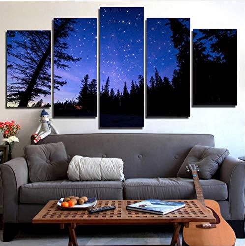 Aisufen HD arte de la pared de la impresión 5 pedazos del Bosque hermoso Cielo estrellado de la Noche Vista pintura decoración de la sala de Estar Marco modular lienzo imagen cartel-40CMx60/80/100CM