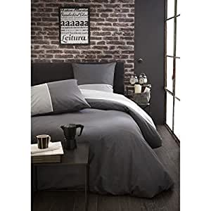 Housse de couette hector bicolore et taies gris today for Amazon housse de couette