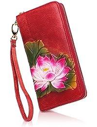 APHISONUK Cartera para Mujer Peony Lotus Vintage, Color: Rojo - Amarillo - marrón -