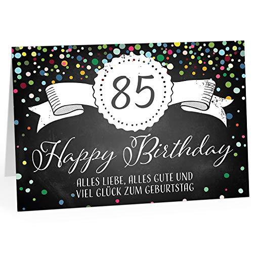 Große Glückwunschkarte XXL (A4) zum 85. Geburtstag - Tafel-Look Konfetti/mit Umschlag/Edle Design Klappkarte/Glückwunsch/Happy Birthday Geburtstagskarte/Extra Groß/Edle Maxi Gruß-Karte