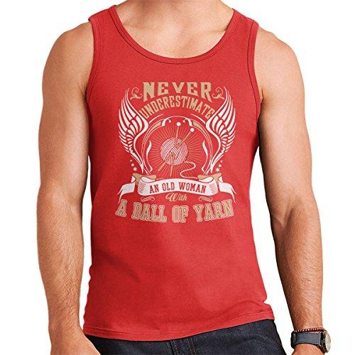 Never Underestimate Knitting Men's Vest Red
