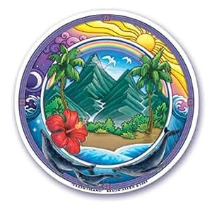 """Mandala Arts Sticker pour fenêtre Terre de l """"île d'Hawaii en vinyle"""