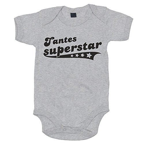 Baby Body - Tantes Superstar - von SHIRT DEPARTMENT, grau-schwarz, 68-80