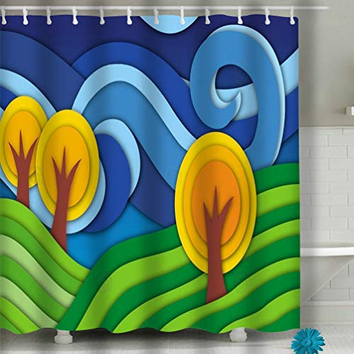 Jiuyiqiy3 Shower Curtain Thickness, Mildew Resistant w/No Chemical Smell 60x72 inch Landscape Original Technique Effect Cut Paper Hills Trees Clouds Naive Art Graphics d Graceful Drawing