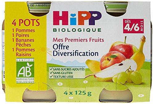 Hipp Biologique Offre Diversification Fruits dès 4/6 mois - 16 pots de 125 g
