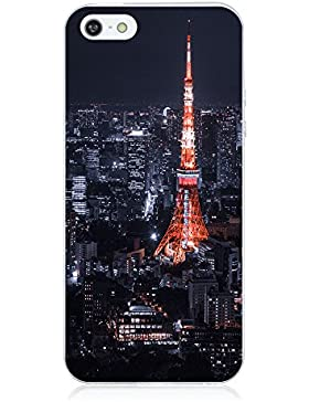 Teryei® TPU Silicona Funda Protección Premium Semi-Transparente Caso cover para iPhone 5/5s/SE - Torre Eiffel