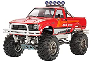 Tamiya Toyota Mountain Rider Pickup Truck 1:10 - Vehículos de Tierra por Radio Control (RC) (Pickup Truck, 1:10, Kit de Montaje, Negro, Rojo, Metal, Toyota Hilux)