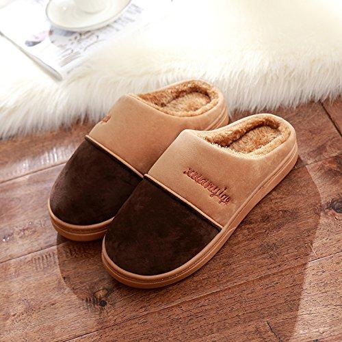 DogHaccd pantofole,Inverno pantofole di cotone femmina maschio INVERNO Pacchetto soggiorno spesso le coppie indoor anti-slittamento peluche home pantofole inverno Il caffè1
