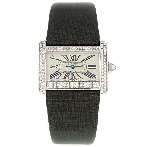Mini somieres de Cartier Tank WA301236 de oro blanco de Original diseño de diamantes de cuarzo reloj de pulsera para mujer