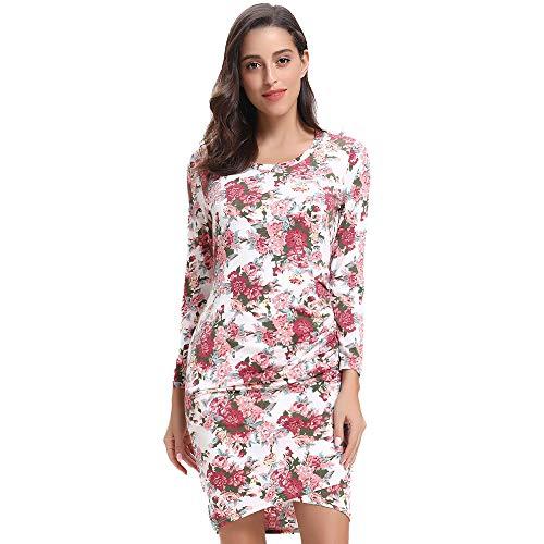 Luxspire Women's Elegant Slim-fit Floral Print 3/4 Sleeve Midi Tunic Pleated Dress, White, Medium - Wide Sleeve Print Kleid