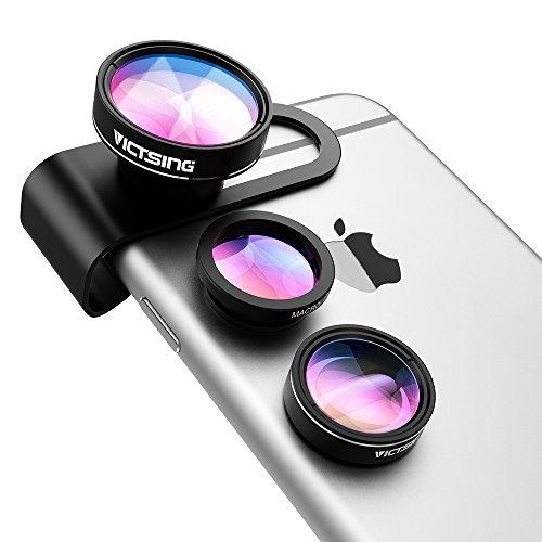 Ojo de Pez 3 en 1 de VicTsing, Clip-On Lente para Móviles, 180 Grados + 0.65X Lente Gran Angular + 10X Lente Macro, Kit de Cámara para iPhone,iPad HTC Sony etc - Negro