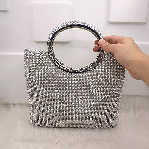 HHdstb Kristall Diamant Elegante Kupplung Frauen Braut Hochzeit Brieftasche Geldbörse Abend Party Tasche Gold/Silber/Schwarz Handtasche (Damen-braut-abend Taschen)