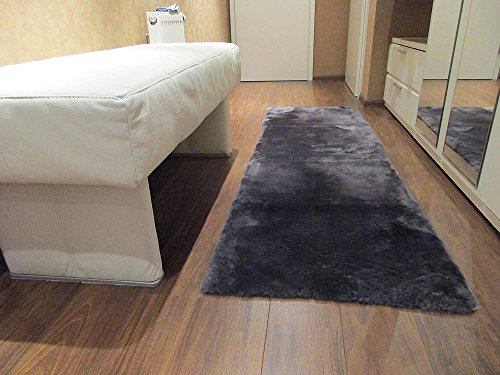 Reissner Lammfelle Lammfell Teppich Couchauflage Bettvorleger 140x60cm (Kurzflor) anthrazit