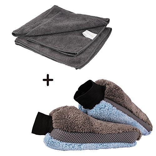 Bonorum® Mikrofaserhandschuh inkl. Mikrofasertuch (2er Set) – Waschhandschuh zur sanften Reinigung & Politur – saugfähiger Autowaschhandschuh