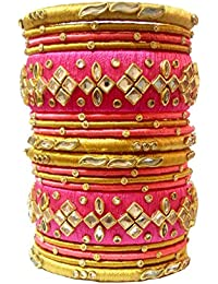 Blue Jays Hub Silk Thread Bangle Set Of 18,pink And Gold Color, Multi Color For Women/girls