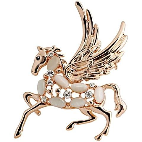 YC–Top Único Ángel caballo Circonita Cúbica Ópalo Lujo Encanto Broche
