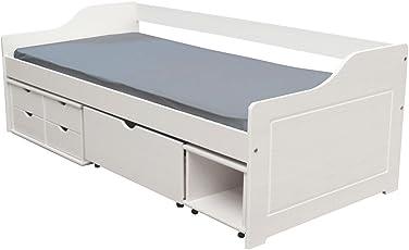 KMH, Massivholz Kojenbett/Kinderbett/Jugendbett Mit Bettkasten, Schubladen  Und Nachttisch (200
