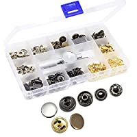 Yotako No Sewing Metal Press Fasteners Heavy Duty Snap Fasteners Kit, Press Studs Eyelet Socket, Snap Setter Rivet Punch Tool Poppers Button for Leather Craft Jacket Wallet Handbag 40 Pcs(12.5mm)