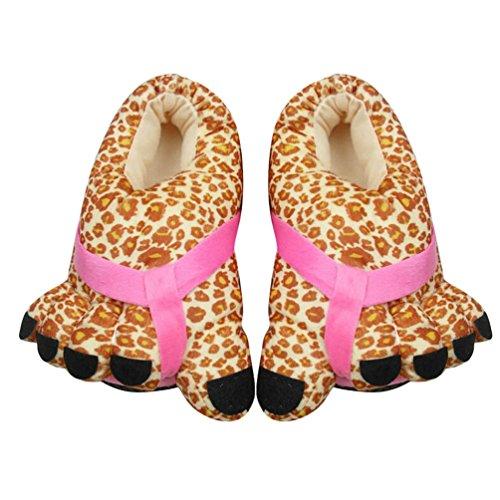YOUJIA Hiver Pantoufle en Peluche Chaudes Rigolos Imprimé Chausson Gros Orteils Chaussures dintérieur - Femme et Homme - Taille: 34-38 Léopard