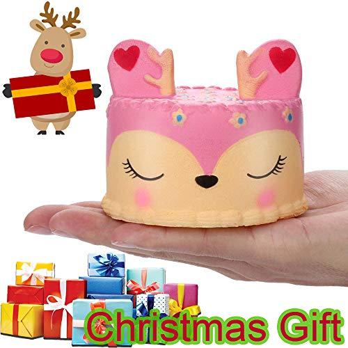 Cooljun Squishies Kawaii Christmas Toy Entzückende Squishies Rosa Hirsch Duftende Spannungsentlastungs-Spielwaren des Kuchen-langsamen steigenden Obstes (10x8cm/3.94x3.15inch, ()