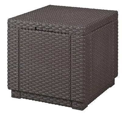 Allibert 206721 Hocker mit Kissen Cube w/ cushion, Rattanoptik, Kunststoff von Allibert bei Gartenmöbel von Du und Dein Garten