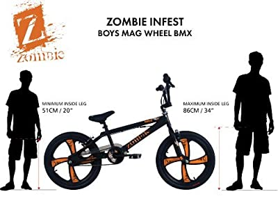 Zombie Boy's Infest BMX Bike - (Black/Orange, 7+ Years, 10 Inch, 20 Inch)