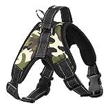 Pawaboo Chaleco Cabestro Arnés de Perro - Adjustable/Duarable Tarea Pesada Suave Reflejo Acolchado Dog Vest Harness , Talla Mediana, Camuflaje Negro