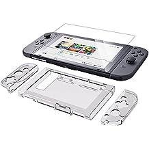 Kits para caja de conmutador Nintendo, incluyendo funda de TPU, 2 PC Joy Clear de cristal claro, 2 protectores de pantalla, con diseño de absorción de impactos y antiarañazos para consola y accesorios