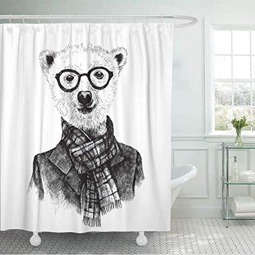 HHYSPA Duschvorhang Grafik Hand gezeichnet Verkleidet Hipster Bär In Brille Skizze Tier Gekritzel schönes Badezimmer Dekor mit 12 Haken 71X71 Inch