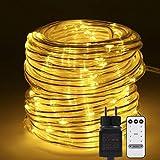 B-right - Catena di luci a 200 LED, per esterni, luce bianca calda, funzionamento a corrente, con telecomando, illuminazione natalizia, per Natale, balcone, matrimonio, festa, albero di Natale