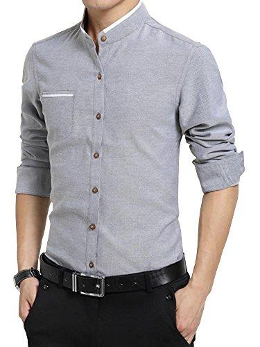 SOIXANTE -  Camicia Casual  - Basic - Collo a U  - Maniche lunghe  - Uomo 2210Gris
