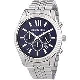 Michael Kors Lexington MK8280 - Reloj cronógrafo de cuarzo para hombre, correa de acero inoxidable color plateado (cronómetro, agujas luminiscentes)