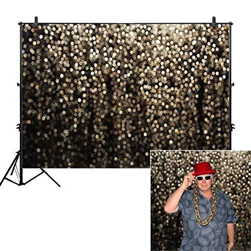 EdCott 10x8ft Vinyl Gold Bokeh Spots für Selfie Geburtstagsfeier Bilder Photo Booth Shoot Abschlussball Tanz Dekor Hochzeit Vintage Astract Glitter Dot Studio Requisiten Fotografie Hintergrund