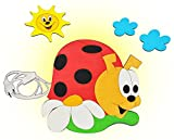 Unbekannt Wandlampe aus Holz - Marienkäfer mit Wolken - Lampe mit Schalter für Kinder - Kinderzimmer Kinderlampe Wandleuchte mit Stecker / Nachtlicht / Schlummerlicht Glückskäfer Sonne Wolken