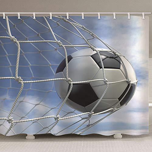 HBZZCL 3D Duschvorhänge Fußballtor Waschbar Stoff Fabrik Wohnaccessoires 12 Duschvorhangringen-200(W) X180(H) cm