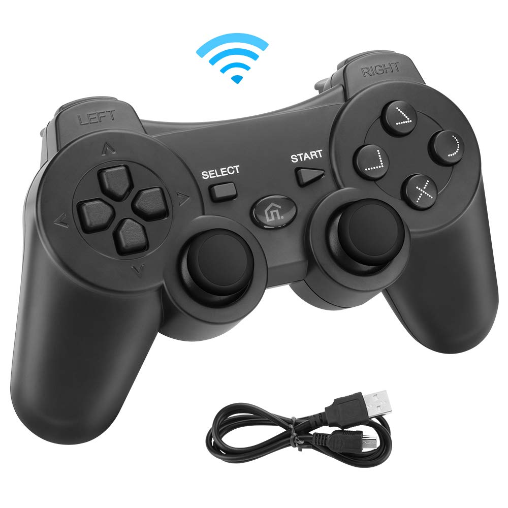 Powcan Mando Inalámbrico PS3, Bluetooth PS3 Gamepad Controller Doble vibración Mando a Distancia Joystick para Playstation 3 y PC Windows 7/8/9/10 con Cable de Carga USB (Negro)
