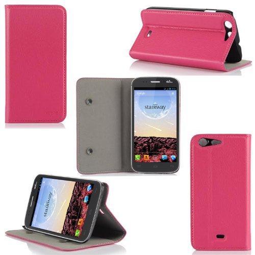 Wiko Stairway Tasche Leder Hülle Rosa / Pink Cover mit Stand - Zubehör Etui Wiko Stairway Flip Case Schutzhülle (PU Leder, Handytasche Rosa) - XEPTIO accessoires