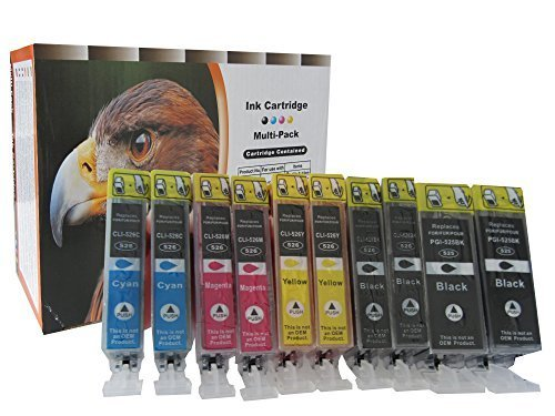 Preisvergleich Produktbild 10 komp. Drucker Patronen mit Chip für Canon, ersetzt 2x schwarz 525BK 2x schwarz 526BK 2x blau 526C 2x rot 526M 2x gelb 526Y